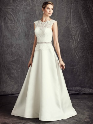 An Elegant Lace Over Satin A Line Wedding Dress Featuring Overlay To Sweetheart Neckline Cap Sleeves Jewelled Belt The Natural Waist And