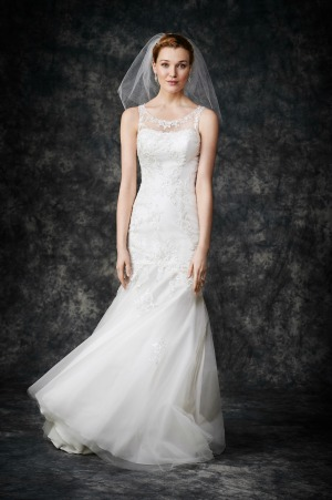 A Lightweight Alencon Lace And Tulle Wedding Dress Featuring Sheer Sabrina Neckline Mermaid Skirts Low Cut V Back
