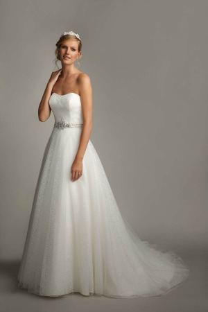 8e25069a83 A classic A-line tulle, princess style gown featuring a sweetheart neckline,  jewelled belt to the natural waist and a lace and subtle sequin underlay to  the ...
