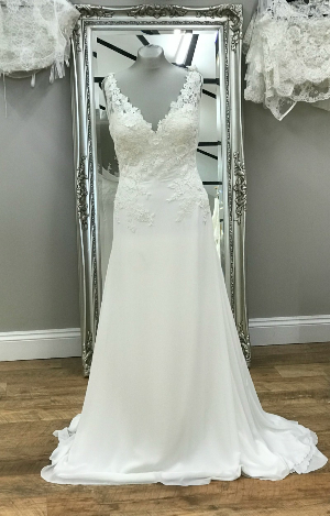 A Chiffon And Lace Wedding Dress With Beautiful Back Detail Guipure Applique Bodice V Neck Transparent Draped Bias Band