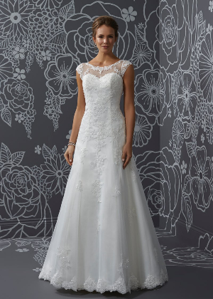 713873bcd332 A shape enhancing lace applique over tulle, A-line wedding dress features  an illusion neckline , cap sleeves button illusion back.