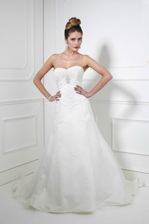 A Classic Light Taffeta Line Wedding Dress Embellished With Beaded Lace Appliques Satin Empire Band Below The Sweetheart Bodice Jewelled